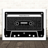 Guns N' Roses Think About You Black & White Music Cassette Tape Song Lyric Print