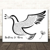 Dire Straits Brothers In Arms Black & White Dove Bird Song Lyric Print