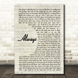 Bon Jovi Always Song Lyric Vintage Script Quote Print