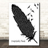 Pink Floyd Comfortably Numb Black & White Feather & Birds Song Lyric Print