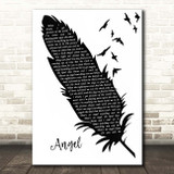 Levellers Angels Black & White Feather & Birds Song Lyric Print