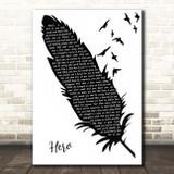 Mariah Carey Hero Black & White Feather & Birds Song Lyric Print