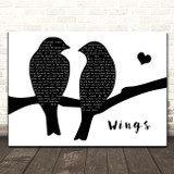 Birdy Wings Lovebirds Black & White Song Lyric Print