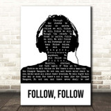 Glasgow Rangers Follow, Follow Black & White Man Headphones Song Lyric Print