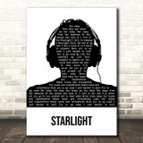 Muse Starlight Black & White Man Headphones Song Lyric Print