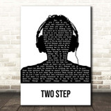 Dave Matthews Band Two Step Black & White Man Headphones Song Lyric Print