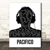 Ugly Casanova Pacifico Black & White Man Headphones Song Lyric Print