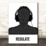 Warren G Regulate Black & White Man Headphones Song Lyric Print