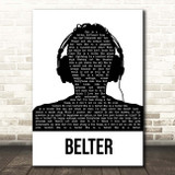 Gerry Cinnamon Belter Black & White Man Headphones Song Lyric Print