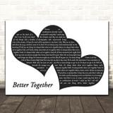 Jack Johnson Better Together Landscape Black & White Two Hearts Song Lyric Print