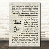 Led Zeppelin Thank You Song Lyric Vintage Script Quote Print