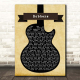 The 1975 Robbers Black Guitar Song Lyric Print