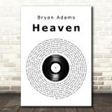 Bryan Adams Heaven Vinyl Record Song Lyric Quote Print