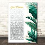 Avenged Sevenfold God Damn Gold Green Botanical Leaves Side Script Song Lyric Print