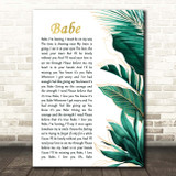 Styx Babe Gold Green Botanical Leaves Side Script Song Lyric Print