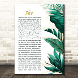 Ed Sheeran She Gold Green Botanical Leaves Side Script Song Lyric Print