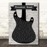 Bruce Springsteen Thunder Road Electric Guitar Music Script Song Lyric Print