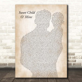 Guns N Roses Sweet Child O' Mine Father & Baby Song Lyric Print