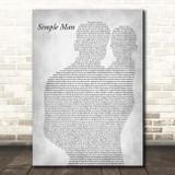 Lynyrd Skynyrd Simple Man Father & Baby Grey Song Lyric Print
