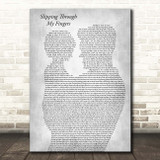 ABBA Slipping Through My Fingers Father & Child Grey Song Lyric Print