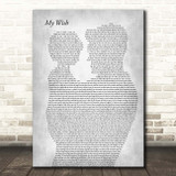 Rascal Flatts My Wish Father & Child Grey Song Lyric Print