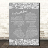 The Beatles Can't Buy Me Love Grey Burlap & Lace Song Lyric Print