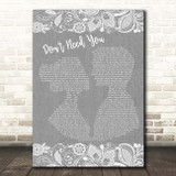 Bullet for My Valentine Don't Need You Grey Burlap & Lace Song Lyric Print