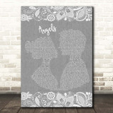 Robbie Williams Angels Grey Burlap & Lace Song Lyric Print