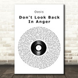 Oasis Don't Look Back In Anger Vinyl Record Song Lyric Quote Print