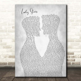 Lucy Spraggan Lucky Stars Two Men Gay Couple Wedding Grey Song Lyric Print