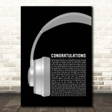 Post Malone Congratulations Grey Headphones Song Lyric Print