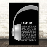 Harry Styles Lights Up Grey Headphones Song Lyric Print