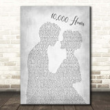 Dan + Shay & Justin Bieber 10,000 Hours Man Lady Bride Groom Wedding Grey Song Lyric Print