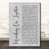 Leeds United AFC Marching On Together Grey Rustic Script Song Lyric Print