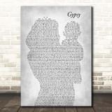 Fleetwood Mac Gypsy Mother & Baby Grey Song Lyric Print