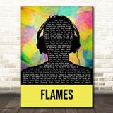 David Guetta & Sia Flames Multicolour Man Headphones Song Lyric Print