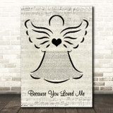 Celine Dion Because You Loved Me Music Script Angel Song Lyric Print