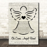 Johnny Cash Oh Come, Angel Band Music Script Angel Song Lyric Print
