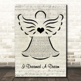 Les Misérables I Dreamed A Dream Music Script Angel Song Lyric Print