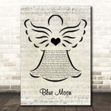 Billie Holiday Blue Moon Music Script Angel Song Lyric Print