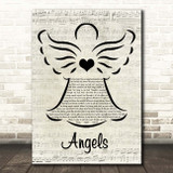 Robbie Williams Angels Music Script Angel Song Lyric Print