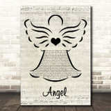 Sarah McLachlan Angel Music Script Angel Song Lyric Print