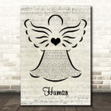 The Killers Human Music Script Angel Song Lyric Print