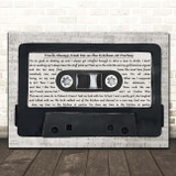 Jona Lewie You'll Always Find Me in the Kitchen at Parties Music Script Cassette Tape Song Lyric Print