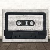 Amy Winehouse Valerie Music Script Cassette Tape Song Lyric Print