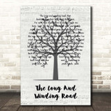 The Beatles The Long And Winding Road Music Script Tree Song Lyric Print