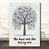 The Owl and the Pussy-Cat Music Script Tree Song Lyric Print