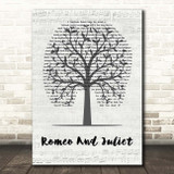 Dire Straits Romeo And Juliet Music Script Tree Song Lyric Print