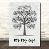 Bon Jovi It's My Life Music Script Tree Song Lyric Print