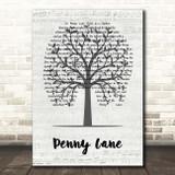 The Beatles Penny Lane Music Script Tree Song Lyric Print
